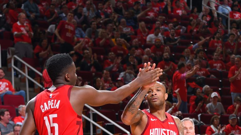 Clint Capela and PJ Tucker in action for the Rockets
