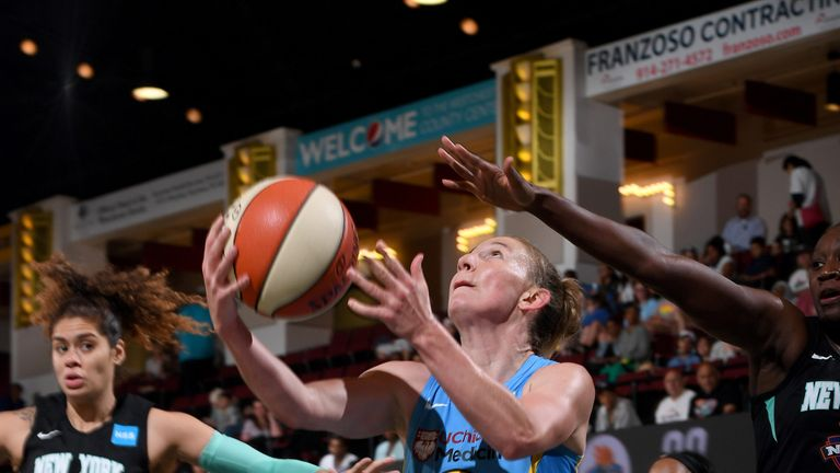 Courtney Vandersloot rises to score against the New York Liberty
