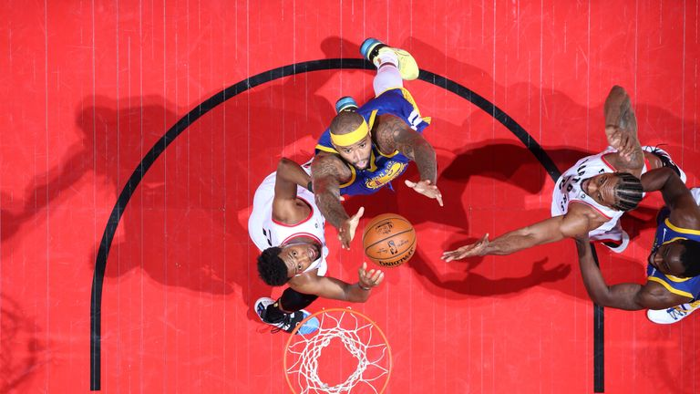 DeMarcus Cousins snags a rebound during Game 5 of the NBA Finals