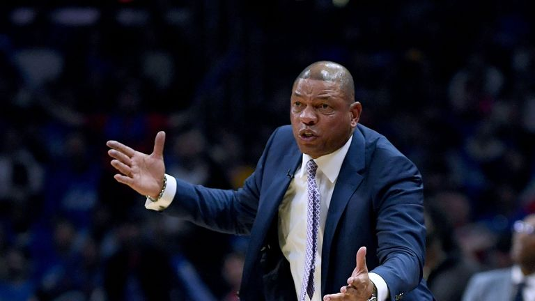 Clippers coach Doc Rivers gestures from the sideline
