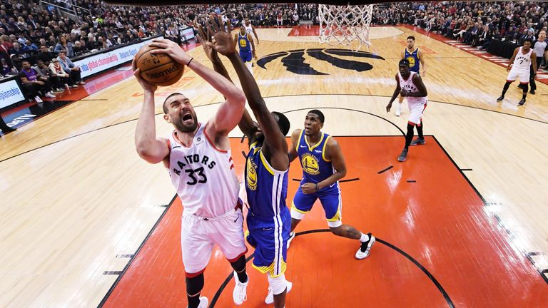 Draymond Green rises to block Marc Gasol during Game 1 of the NBA Finals