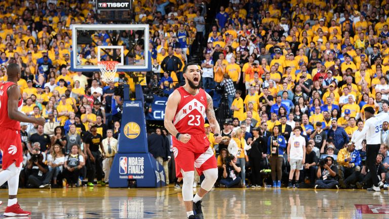 Fred VanVleet celebrates after hitting a go-ahead three-pointer in Game 6 of the NBA Finals
