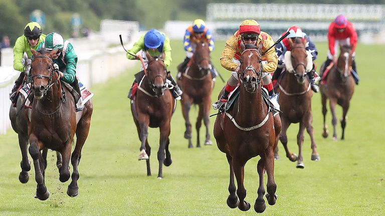 Gold Mount ridden by Andrea Atzeni wins the Sky Bet Race to the Ebor Grand Cup