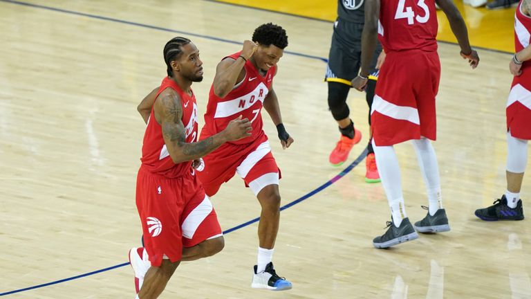 Kawhi Leonard and Kyle Lowry celebrate during Game 6 of the NBA Finals