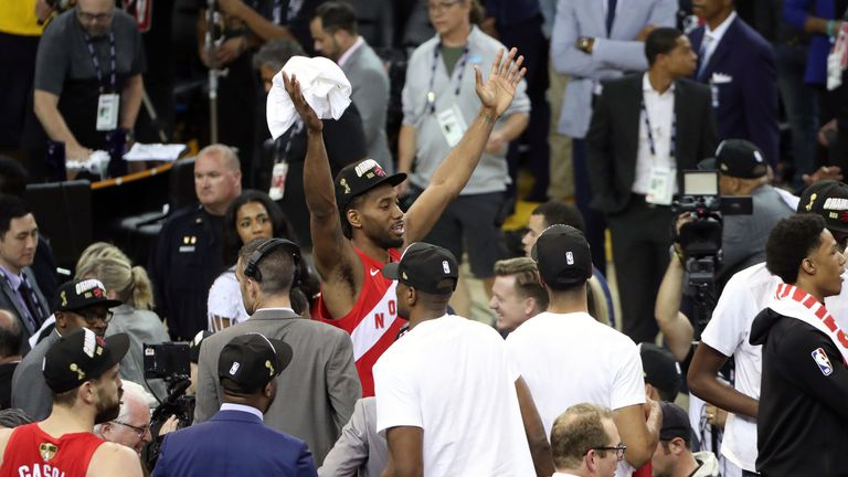 Kawhi Leonard celebrates after being named NBA Finals MVP
