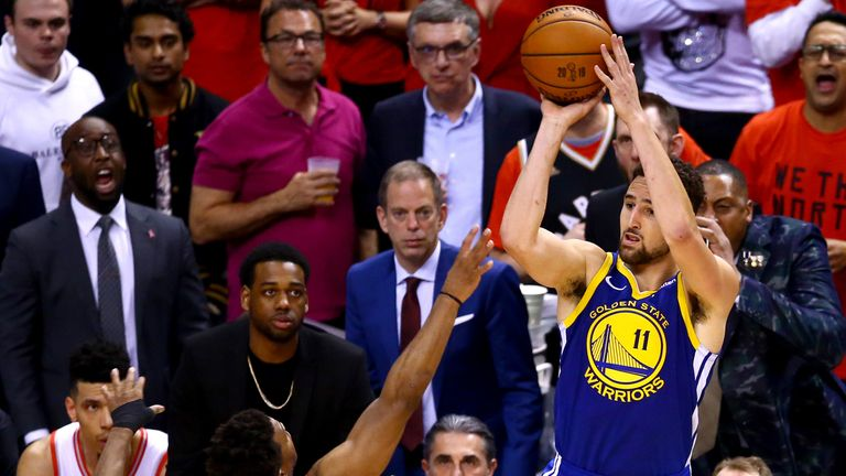 Klay Thompson fires a three-pointer in Game 5 of the NBA Finals