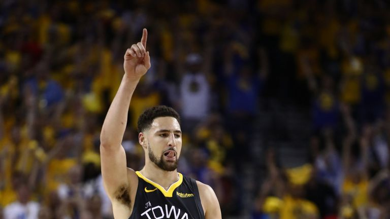 Klay Thompson celebrates a basket during Game 6 of the NBA Finals