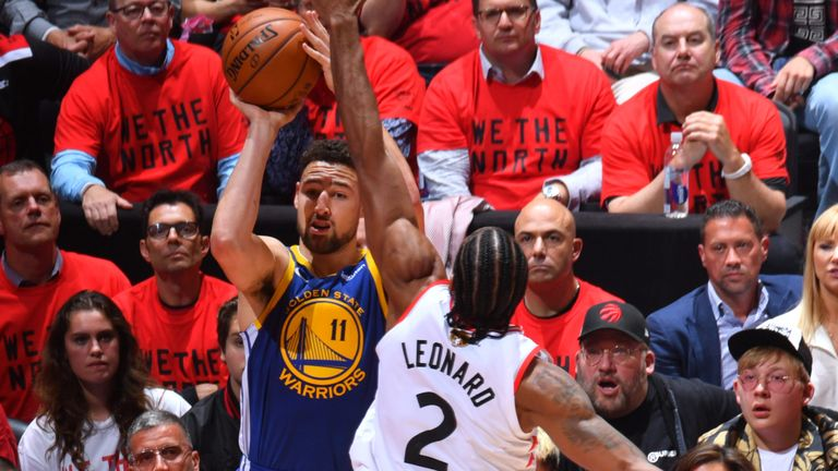 Klay Thompson drains a three-pointer in the Warriors' Game 5 win
