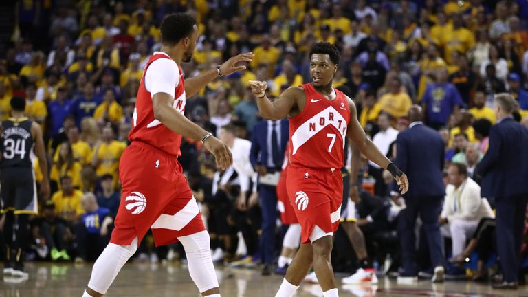 Kyle Lowry celebrates a basket in Game 6 of the NBA Finals