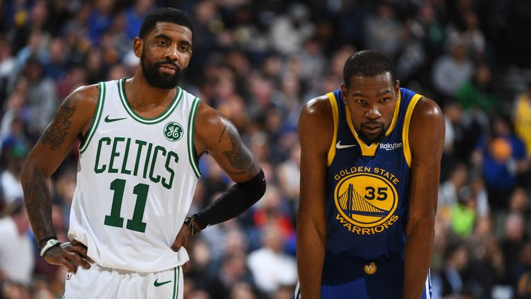 Kyrie Irving and Kevin Durant in regular season action for Boston and Golden State