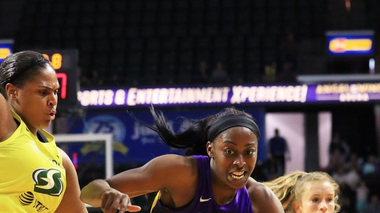Chiney Ogwumike handles the ball against the Seattle Storm