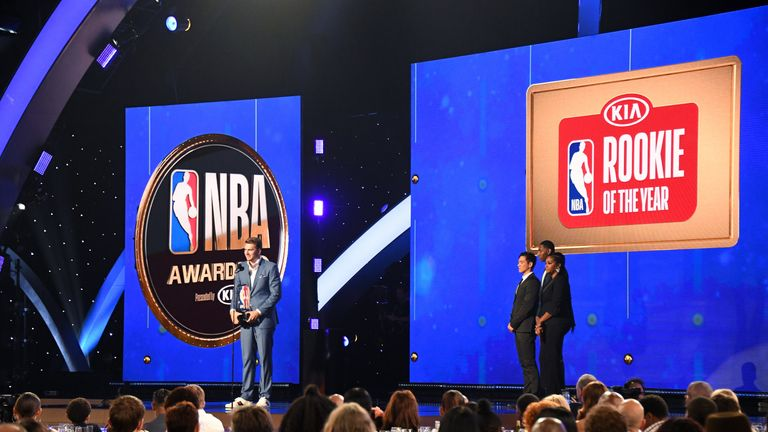 Luka Doncic gives his acceptance speech after being named NBA Rookie of the Year