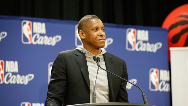 Raptors GM Masai Ujiri addresses the media at an NBA Cares event in Toronto