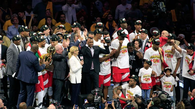 Toronto Raptors team president Masai Ujiri celebrates his team's NBA title triumph