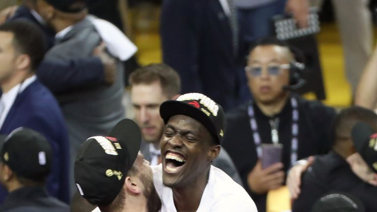 Marc Gasol and Pascal Siakam celebrate the Toronto Raptors' NBA Finals victory