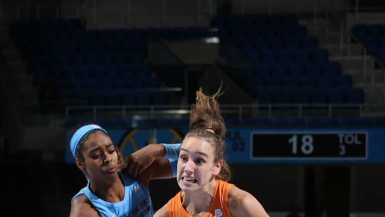 Alanna Smith of Phoenix Mercury drives to the basket against the Chicago Sky