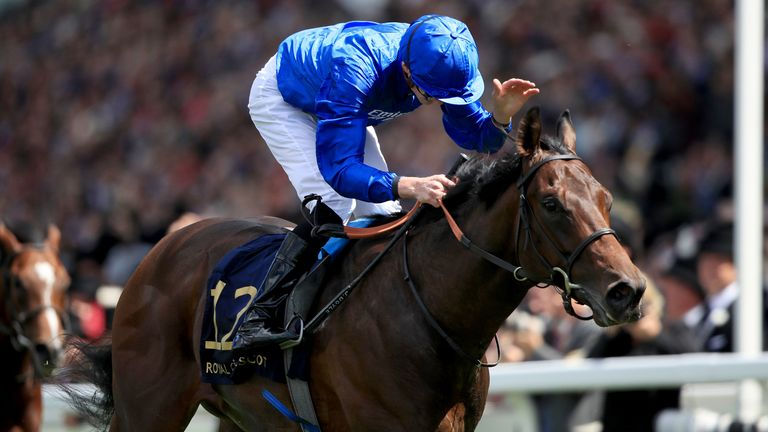 Pinatubo, ridden by jockey James Doyle on the way to winning the Chesham Stakes at Royal Ascot