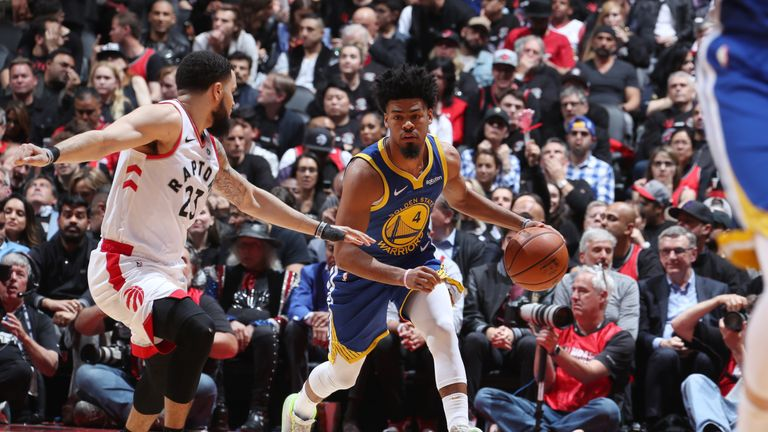 Quinn Cook of the Golden State Warriors handles the ball against the Toronto Raptors during Game 1 of the NBA Finals