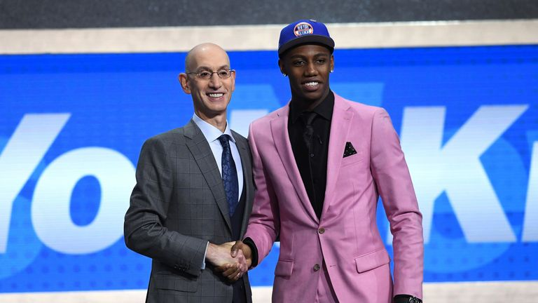 Adam Silver congratulates No 3 pick RJ Barrett