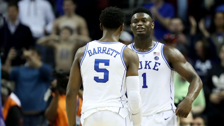 Top Draft prospects RJ Barrett and Zion Williamson in action for Duke