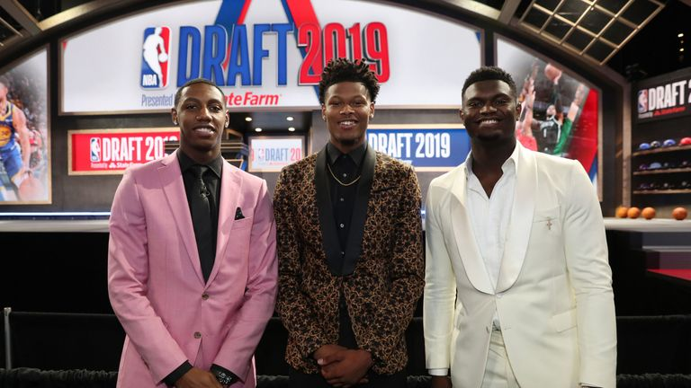 Former Duke team-mates RJ Barrett, Cam Reddish and Zion Williamson pose after all being selected in the Top 10 of the 2019 NBA Draft