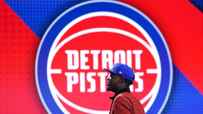 Sekou Doumbouya hits the stage after being selected by the Detroit Pistons at the NBA Draft