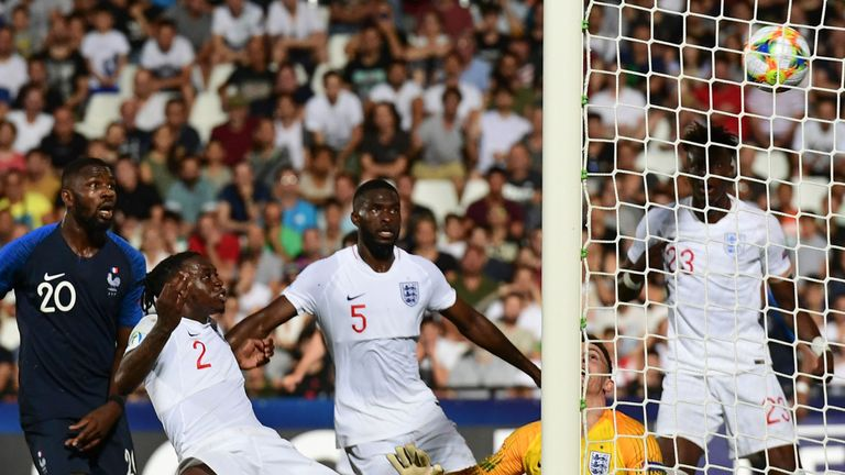 Aaron Wan-Bissaka had a moment to forget as he sliced an effort from France into his own goal to give England's opponents a last-minute victory in their European U21 Championships opener