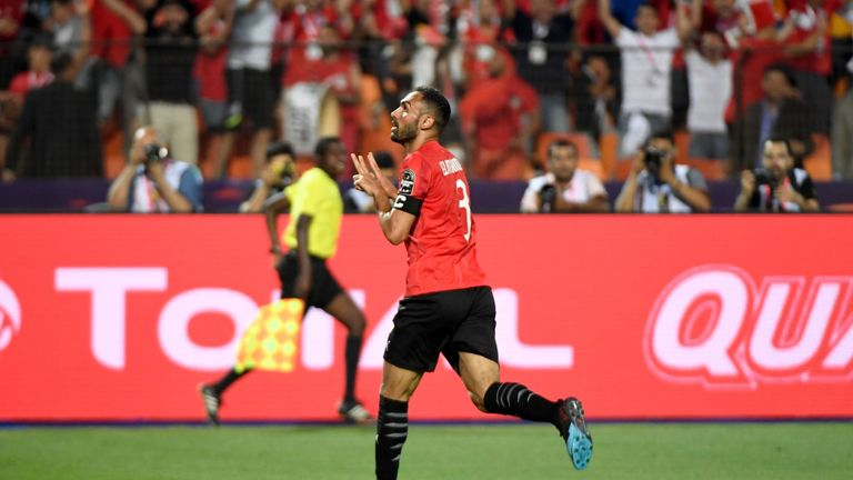 Ahmed Elmohamady celebrates after scoring a goal during the 2019 Africa Cup of Nations (CAN) football match between Egypt and DR Congo