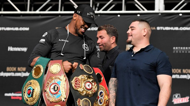 Joshua had allowed Ruiz Jr to hold his world titles at the press conference