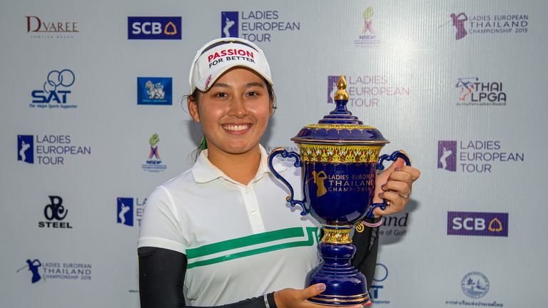 Atthaya Thitikul poses with the trophy for the second time in three years