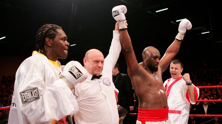 LONDON - DECEMBER 10:  Danny Williams celebrates his victory against Audley Harrison during the vacant Commonwealth Heavyweight Championship fight at the ExCel Centre on December 10, 2005 in London, England.  (Photo by John Gichigi/Getty Images) *** Local Caption *** Danny Williams