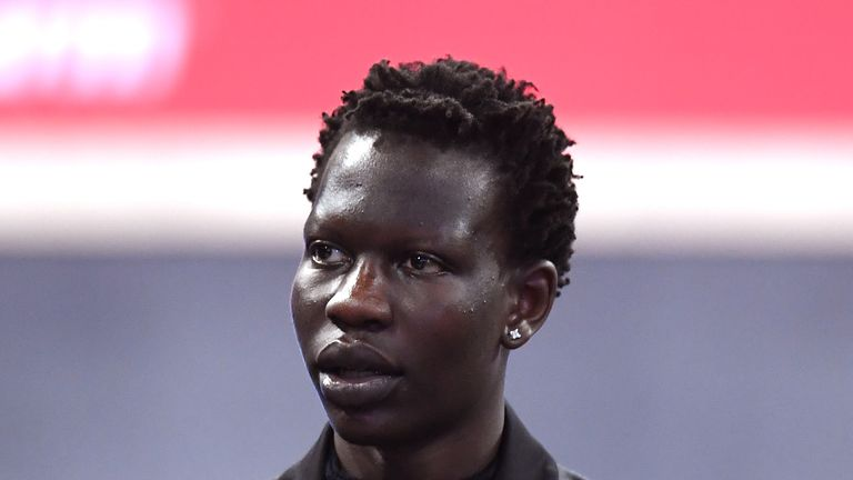 NBA Prospect Bol Bol looks on before the start of the 2019 NBA Draft at the Barclays Center on June 20, 2019 in the Brooklyn borough of New York City.