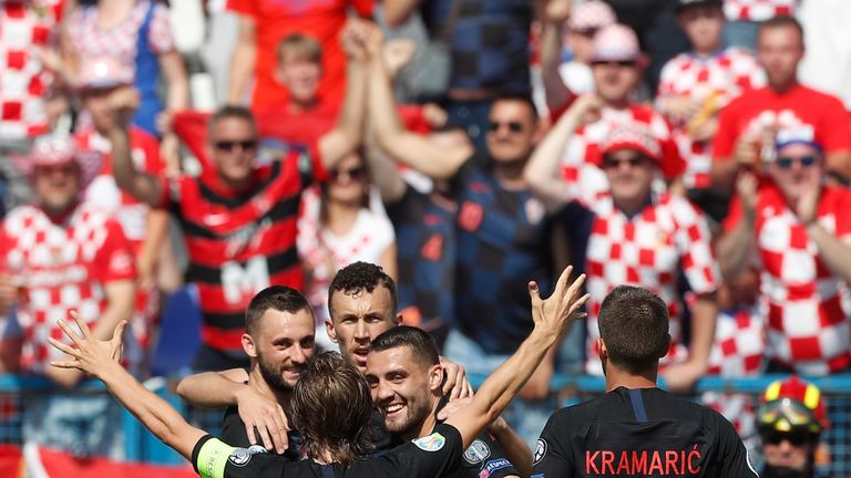 Croatia celebrate Ivan Perisic's opener