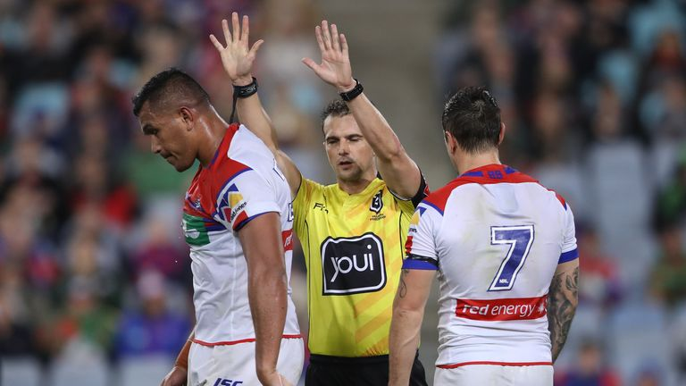 Daniel Saifiti was sin-binned following the brawl between South Sydney and Newcastle