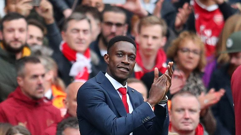 Danny Welbeck applauds the Arsenal crowd in their final home game of last season