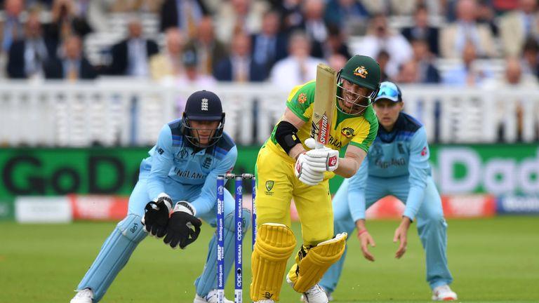 David Warner bats against England at Lord's