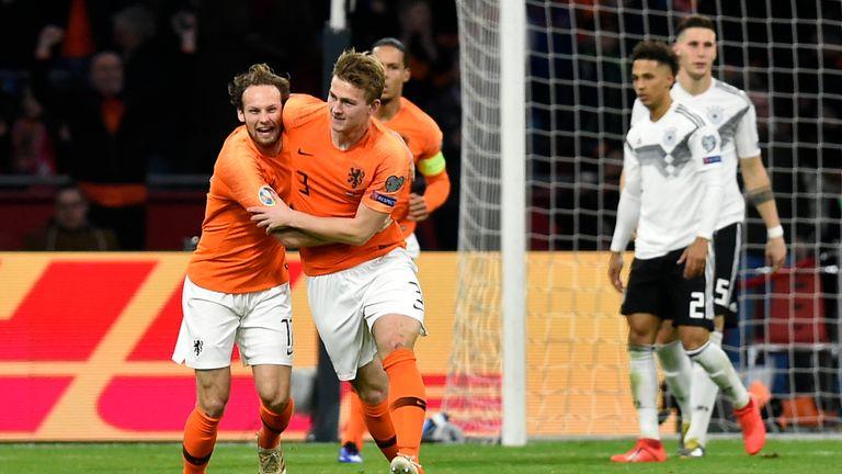 Matthijs De Ligt celebrates a goal against Germany