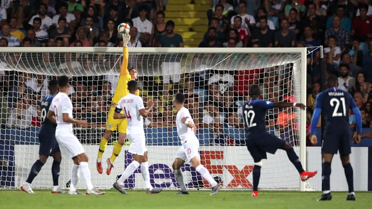Dean Henderson produced a host of fine saves to keep France at bay