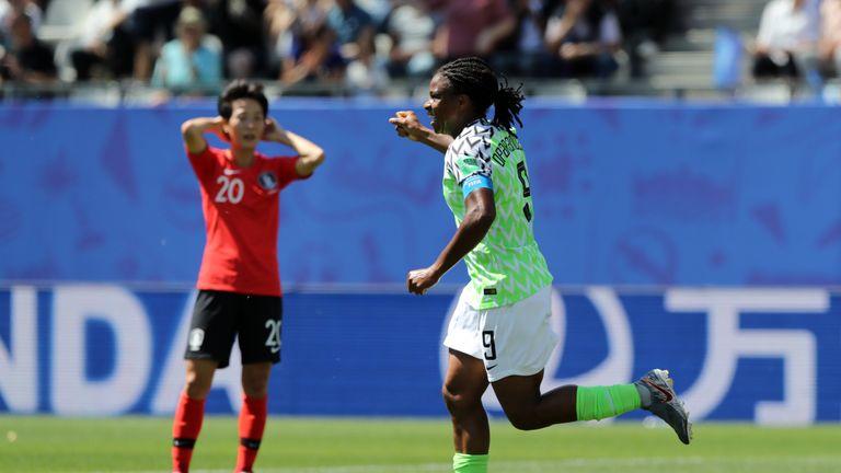 Desire Oparanozie of Nigeria celebrates after South Korea's Do-Yeon Kim scores an own goal