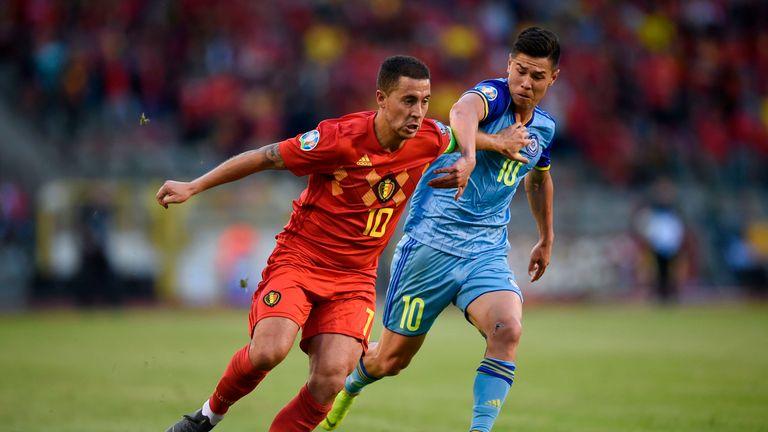 Eden Hazard in action for Belgium against Kazakhstan