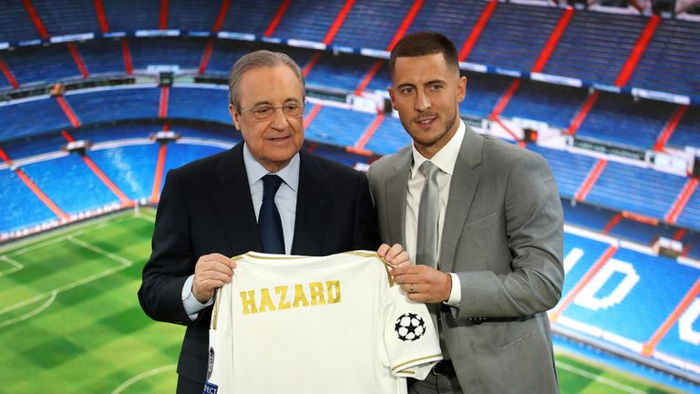 Hazard is unveiled by Real president Florentino Perez