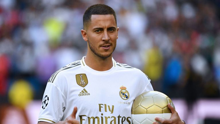 Eden Hazard is unveiled as a Real Madrid player at the Bernabeu