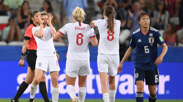 White celebrate her second with seven minutes remaining in Nice