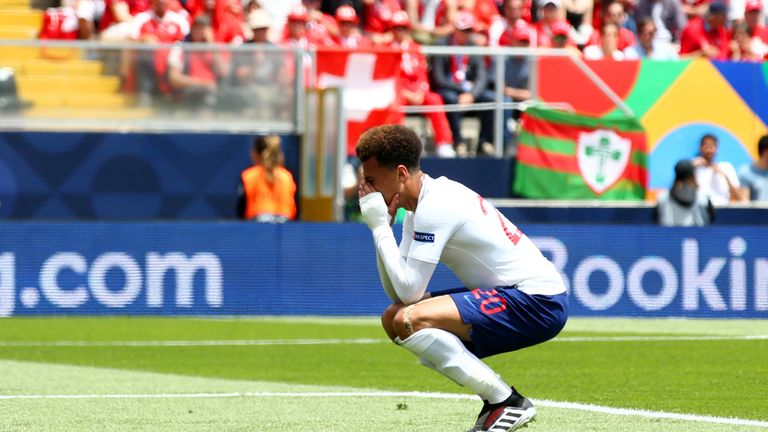Dele Alli of England reacts after a missed chance during the UEFA Nations League Third Place Playoff match between Switzerland and England