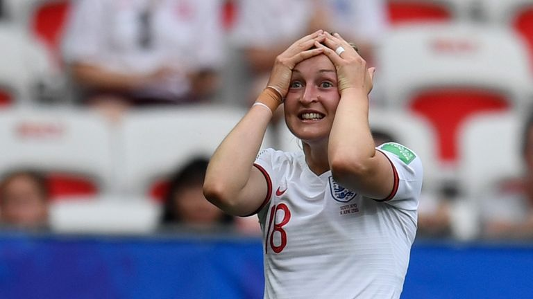 Ellen White reacts after her goal is ruled out for offside