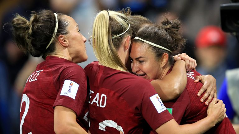 Jodie Taylor celebrates scoring for England Women against Argentina with teammates Beth Mead and Lucy Bronze.