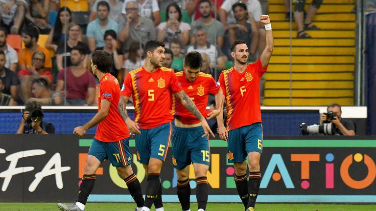 Fabian Ruiz celebrates his opening goal against Germany in the U21 Euros final