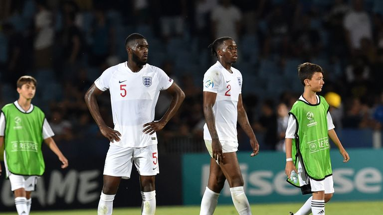 Fikayo Tomori and Aaron Wan-Bissaka during the 2019 UEFA U-21 Group C match between England and France at Dino Manuzzi Stadium on June 18, 2019 in Cesena, Italy.