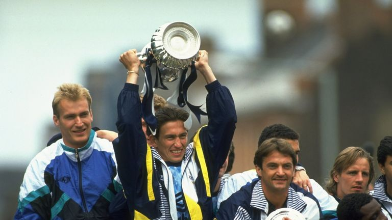 Justin Edinburgh with the FA Cup after Tottenham's win in 1991