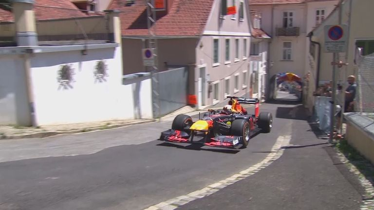 Max Verstappen takes to the streets of Graz in his Red Bull